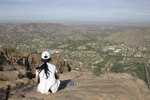 From the top. Looking across the city of Phoenix towards the south.
