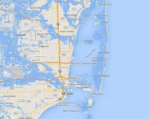 the FIU School of Journalism and Mass Communications has produced maps based on Google software showing what Florida will look like after even a small rise in sea levels.