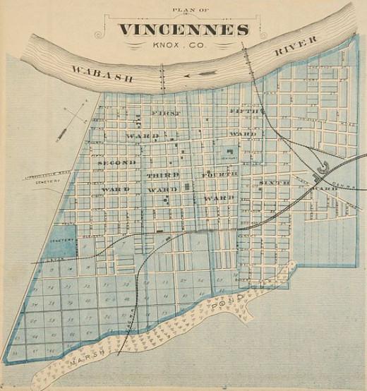 Map of Vincennes, c. 1876.