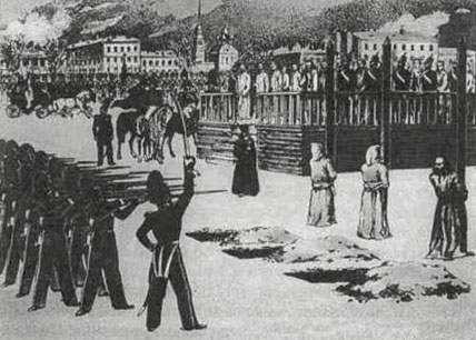 Sketch of Dostoevsky's aborted execution in 1849