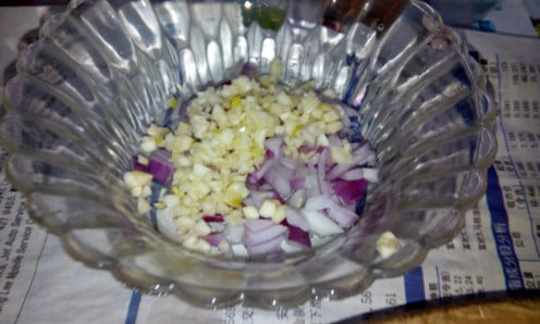 chopped garlic and onions ready to sauté in the wok