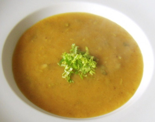 Celery, sweet potato and parsnip soup