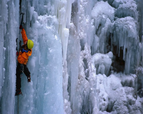 Ice climbing is another dangerous sport.