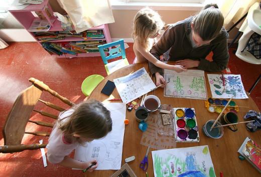 Homeschooling art class.