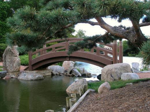 Graceful bridge inside the gardens