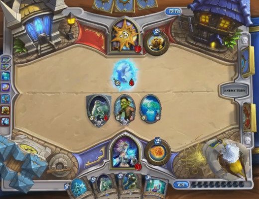Blizzard clears board and leaves the rest useless. When you have minions on the board you can push your opponent's hero hard for damage. Also works with Flamestrike.