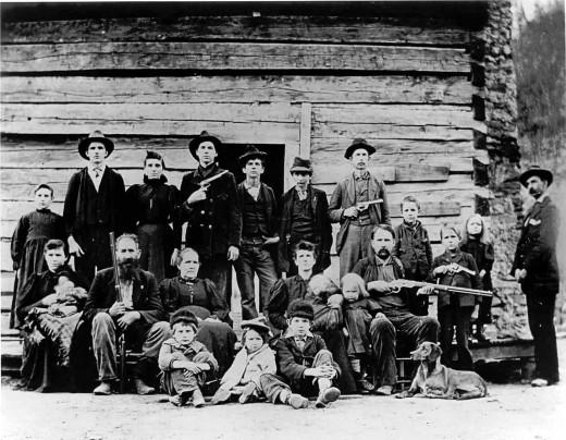 """The Hatfield family in 1897. Patriarch William """"Devil Anse"""" Hatfield is in the second row, the second from the left."""