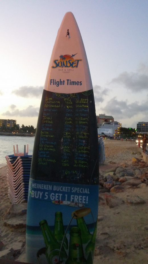 Flight Times on Surfboard at Sunset Bar&Grill