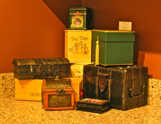 Keep boxes strategically placed about the home to hold those needed odds & ends!