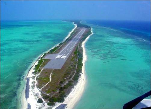 The airstrip at Agatti Island lies amidst water