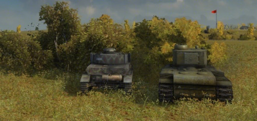 These tanks are using bushes to aid their camouflage rating and have set up an ambush for any incoming enemy tanks.