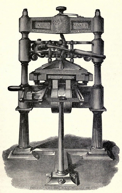 Moveable type printing press