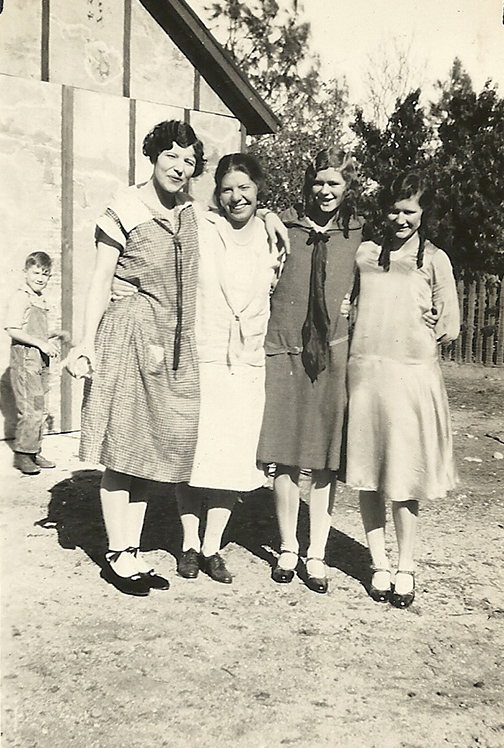 My grandmother is on the right and one of her little sisters is next to her, on the left, plus 2 friends.