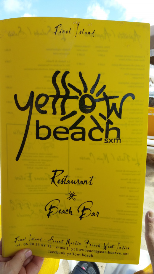 Yellow Beach Bar & Restaurant menu at Pinel Island