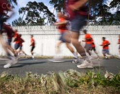 Fast action in marathon running.