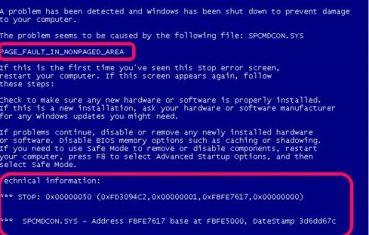 BSOD screen will indicate the error and probable cause