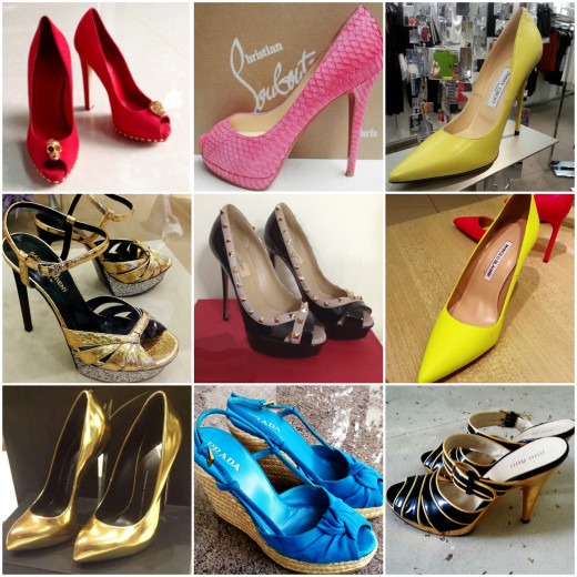 Luxury Shoe Brands. (From top left to bottom right): Alexander McQueen, Christian Louboutin, Jimmy Choo, Yves Saint Laurent, Valentino Manolo Blahnik, Giuseppe Zanotti, Prada, Miu Miu. All by Frederick Green.