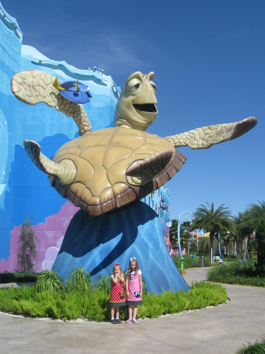 A very large 'Crush the Sea Turtle' statue at Disney's Art of Animation Resort