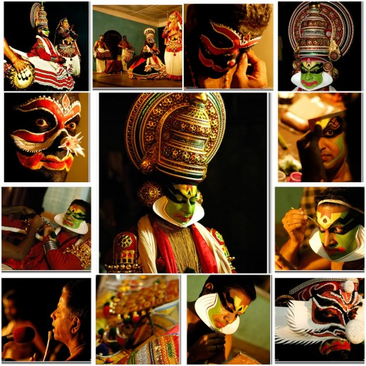 Different Stages of a Kathakali Performer in one Frame