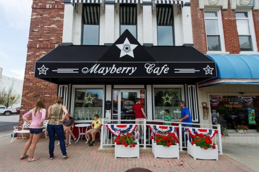 "The throwback style of the Mayberry Cafe on Main Street in Danville, Ind., is a perfect complement to the ""Mayberry in the Midwest"" festival that recalls the warmth of ""The Andy Griffith Show,"" which ran from 1960 to 1968."