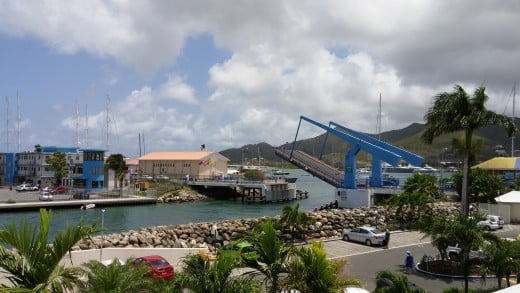 Draw Bridge going up to let sail boats and yachts into the marina at Sint Maarten