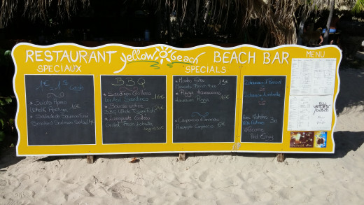 Yellow Beach Bar & Restaurant on Pinel Island. Great food and beverages. They even take credit cards out on this Island