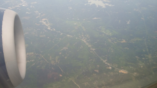 Aerial view of Atlanta returning home