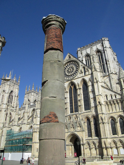 This 22 foot high column was found below the cathedral in 1969. It was one of a series in a colonnade of the great hall in the Roman military headquarters building