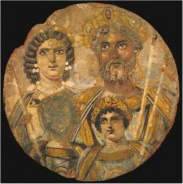 Painted portrait of Septimius Severus and family