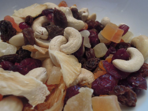 Munchy Mix - dried fruit and nut mix. The recipe can be found here: https://theelderberrykitchen.co.uk/2015/05/05/munchy-mix-dried-fruit-and-nut-mix/