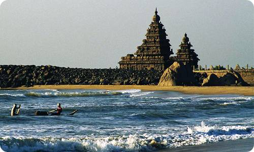 The Shore Temple stands tall on the shore of Bay of Bengal (Back View)