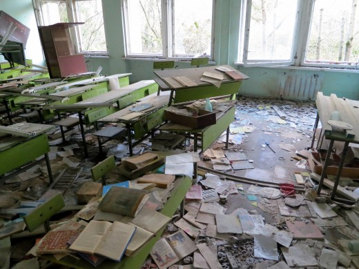 An abandoned school in Pripyat