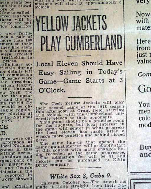"The Atlanta Constitution on the morning of Saturday, October 7, 1916 foresaw ""easy sailing"" for the local college team."