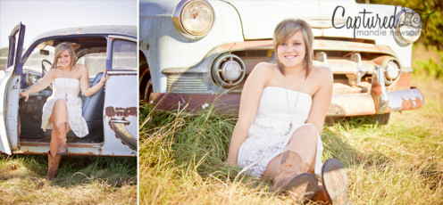 A girl in a senior class in Atlanta, Ga., had her senior photo taken in a junkyard.