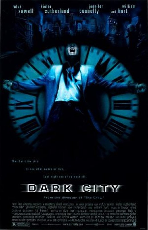 Poster for Dark City (1998) which features the song 'Sway' sung by Jennifer Connelly's character.