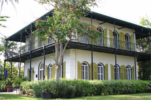 Hemingway House in Key West.  The writer had strong associations with the area, often Wintering there, and he would often frequent the local bar, Sloppy Joe's.  He would also undertake fishing trips with friends.