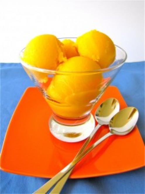 Serve in a glass bowl. Mango sorbet is an excellent dessert after dinner.