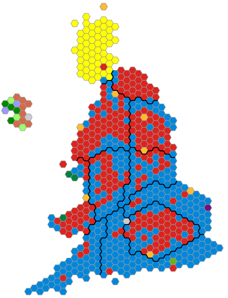Blue =Conservative Red = Labour Yellow = Scottish National Party other colors =other parties.