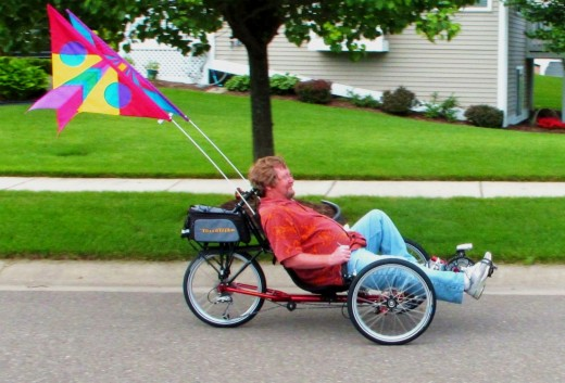 Enjoying a day out on his trike.