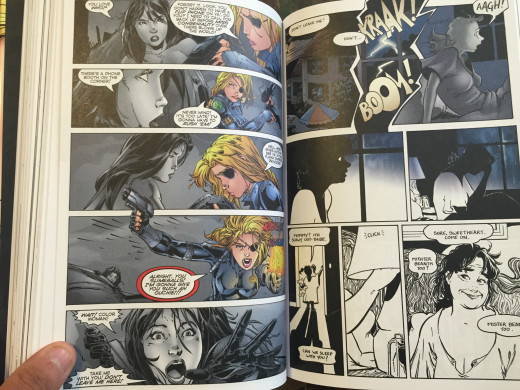 In this example, a dream takes the form of a superhero comic, from which Francine awakens.  Typically, SIP is in B&W; the addition, and removal, of color is heartbreaking, considering the context--a decade has passed since she has seen Katchoo.