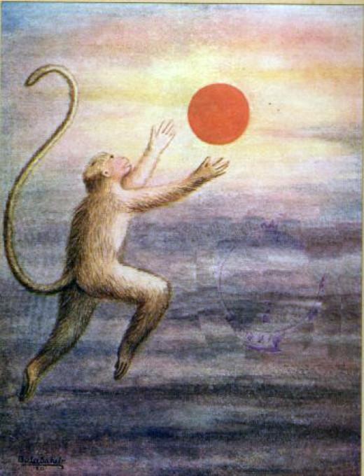 Hanuman the monkey child, mistaking the sun for a mango