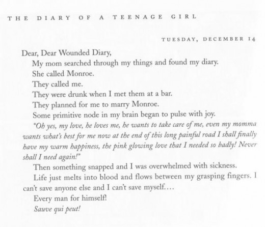 The diary entry in which Minnie/Phoebe reveals that her mother had found her diary.