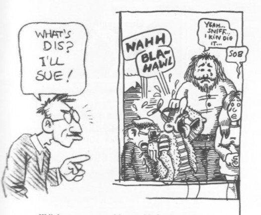"A drawing by R. Crumb, ""threatening"" to sue Minne Goetze/Phoebe Gloeckner for her illustration on the right, which was inspired by Crumb's style."