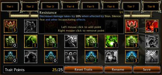 A screenshot of the Trait system in Bloodline Champions.