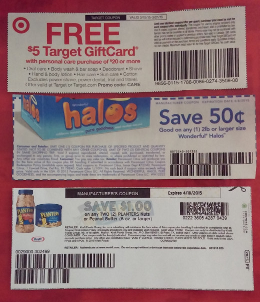 Top to bottom: Target Store Coupon, Manufacturers Coupon, Print Out Manufactures Coupon