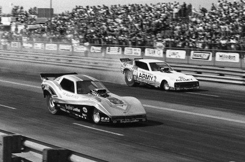 Prudhomme, far lane, and Tom McEwen in near lane.