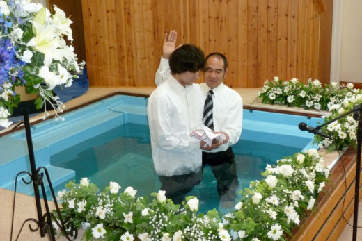 The baptizer recites scripture and doctrine before and after baptism.