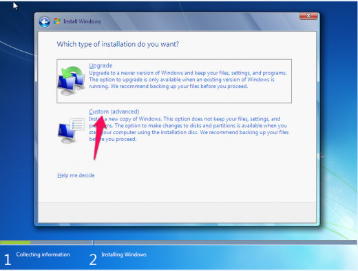 Opt for Custom configuration if you wish to partition your hard drive when running Windows setup