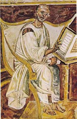 A 6th Century fresco depicting St. Augustine