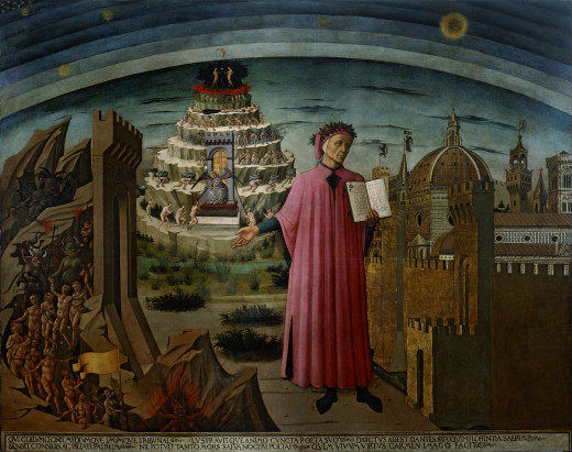 Michilino's fresco of Dante holding his poem near the entrance to Hell.